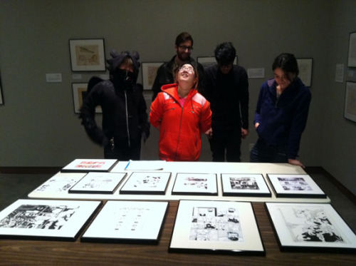 The Queer Comics Project class at the S.F. Cartoon Art Museum, after just having framed the art for the show they curated of local creators of LGBTQ comics. From left to right: Kevin Huang, Devin Mireles, Megan Yamanaka, Steven Soundara, and Robyn Dalbey. The opening party for the show is Saturday, December 17th from 5:30-7:30pm. There will be art, music, cartoonists, an X-Men drag number… in other words, a damn good time!