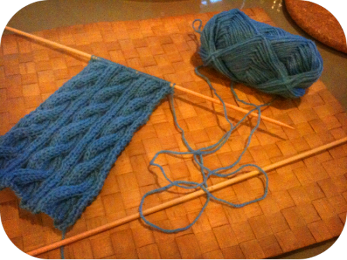 30 Day Knitting ChallengeDay 3 - Do you have any other WIPs (works in progress)? Shamelessly, yes. xD I'm working on some cabled arm warmers because my arms get really cold when I'm writing or playing games and I have to wear a jacket most of the time. (the logic behind that is really stupid, actually, so I won't delve too deep on that. lol) Also, I have yet to properly sew together the two parts of the Gryffindor scarf I've been knitting. ><; And I think the knitted flower I was making awhile back is still missing a few petals… *shameshameshame* PS. The colour isn't too accurate because the picture was taken with warm lighting. (was knitting this in my grandmum's house yesterday)
