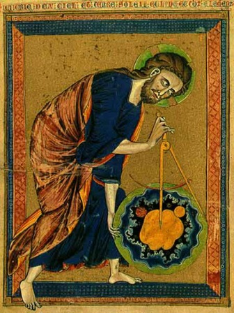 A medieval depiction of Jesus studying what looks like the mendelbrot set, a complex geometric figure which modern mathematicians only barely understand.