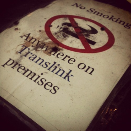Nothing says 'obey the rules' like a no smoking sign with cigarette burns in it (Taken with instagram)