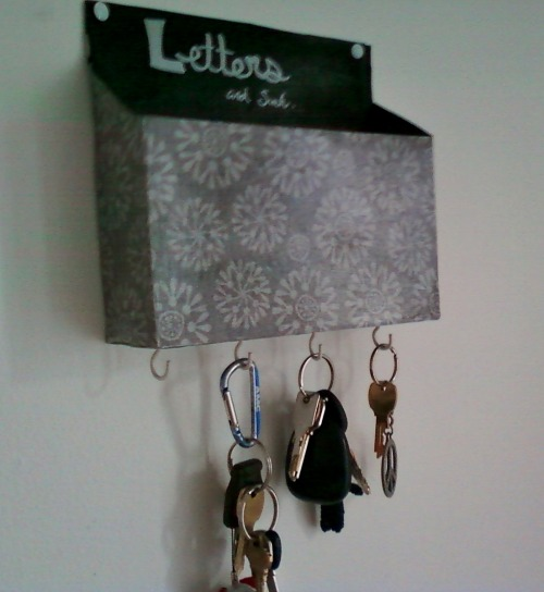 My letter/keyholder made from a cereal box.