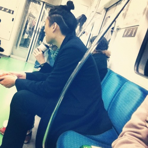 A top bun AND an undercut…WOAH, I don't think I can handle all that hot namja trendy in transit goodness! (Taken with instagram)