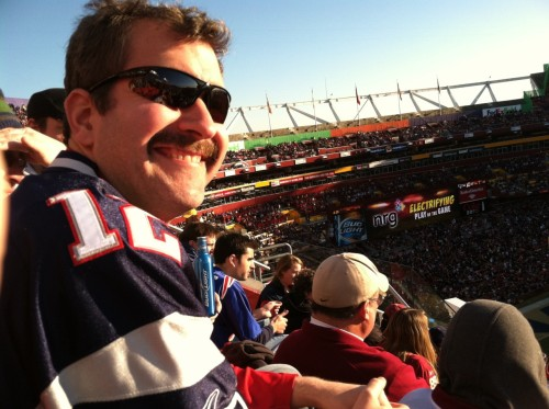 A shot from yesterday's Patriots-Redskins game at FedEx Field.  Thanks again, Kristen, for arranging the tickets.  (And yes, the mustache is sticking around for a few bonus days, but it  will probably be gone by the end of the week)!