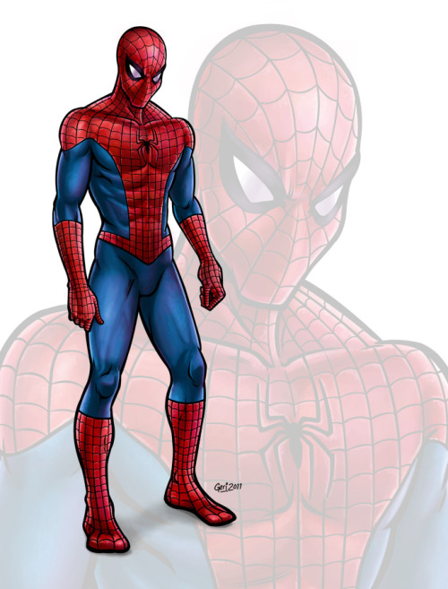 Spiderman, sketched by Dave Hynes, inked and coloured by Geri Coady