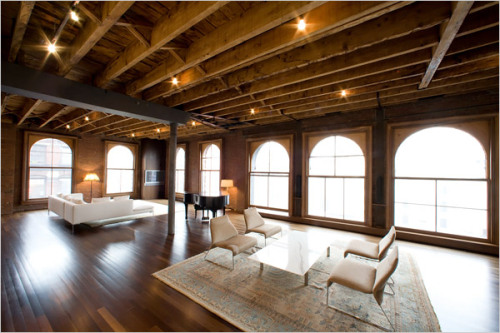 Natalya and Eugene Kashper's minimalist living room in their SoHo loft.