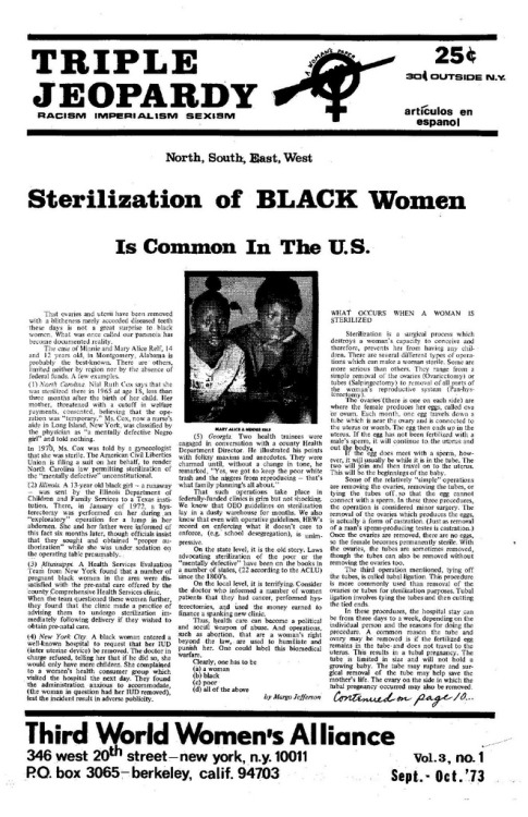 """Sterilization of Black Women is Common in the U.S."" Triple Jeopardy, vol. 3, no. 1 (Sept.-Oct. '73) Third World Women's Alliance"