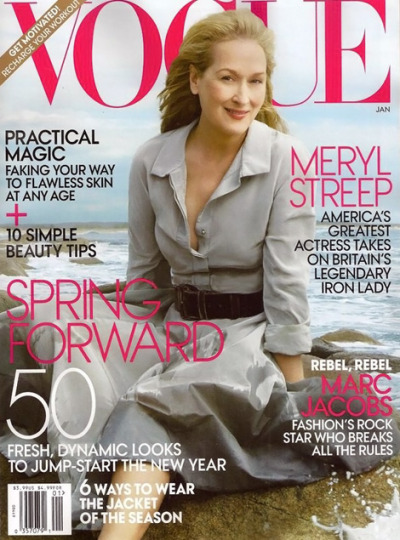 Vogue US January 2012 issue with the lovely Meryl Streep. Photo shoot by Annie leibovitz.