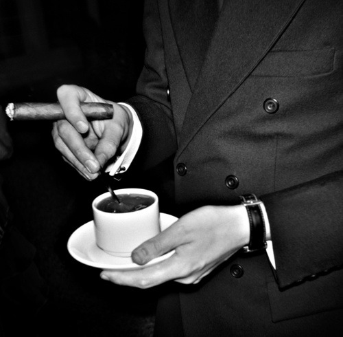 carolinastyle:  Good suit, good coffee and good smoke. The only thing missing is a good girl.