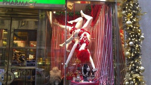 Holiday display window at Zitomer — a three-story drugstore that is more a mini department store than a pharmacy; old school New York. If you need to shop for that New Yorker who has seen and heard it all, and who demands a narrative with the gift, this is the place. They have their own line of cosmetics called Z New York, such as the Big Apple lip gloss, and other quirky and odds and ends products. On the third floor is Zittles, its toy department where they carry classic toys as well as the latest trends and orever classics, stuffed animals, Madame Alexander Dolls and Barbies. Zitomer is a pharmacy on steroids, and a NYC staple.