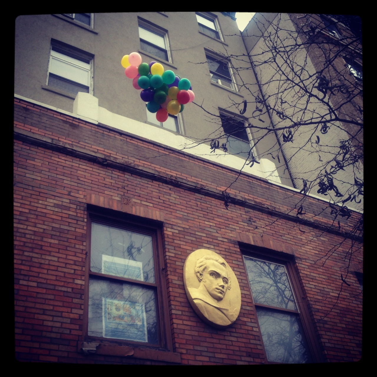 Bright Balloons Stuck / Ukrainian Youth Association / 2nd Ave. East Village / 12.06.11 / 11:21AM /