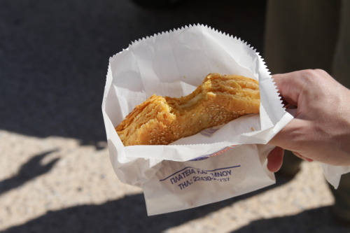 Best tiropita ever, my sidekick during a full tour of Kalymnos Island.