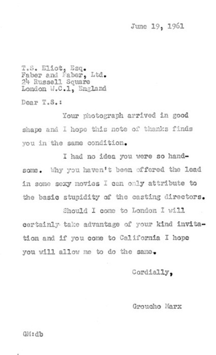 letter_groucho marx to ts elliot
