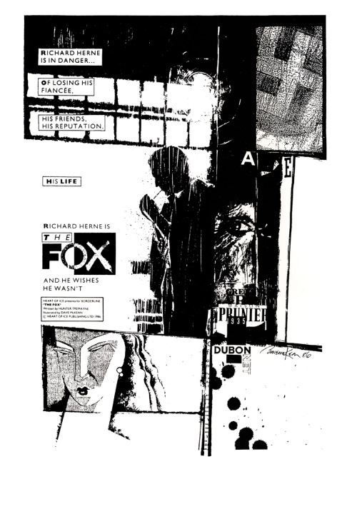 Promotional ad for The Fox - an unpublished project written by Hunter Tremayne and illustrated by Dave McKean, 1986.