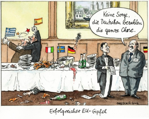 """Don't worry, Germans will pay the bill"". Cartoon in FAZ yesterday after #EU Summit.  Via @openeurope"