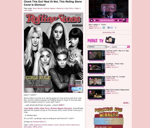 I woke up to someone telling me that my Design made it onto Perezhilton.com  I FREAKED OUT!!!!!!!!!! So happy! My Blog name is even credited! AWESOME!