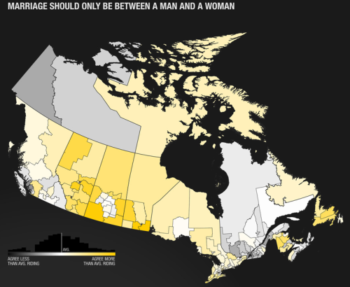 Map: Canadians On Marriage Equality Here you'll see in Yellow those who are against Marriage Equality. Have in mind that in places like the Territory of Nunavut that appear to be extremely against same-sex marriage, are virtually unpopulated.