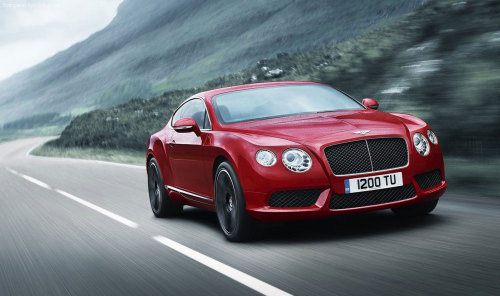 "Bentley's new twin-turbo V8 Continental  Bentley has confirmed a brand new  twin-turbocharged 4.0-litre V8 engine for its Continental GT and GTC  models. Set to debut at next month's Detroit motor show, the new V8 delivers  500bhp and 487 torques said to be accessible ""across virtually the  entire rev range"" from 1,700rpm to 5,000rpm. Bentley reckons this new V8  fitted in the GT - together with the eight-speed auto - is good for a  sub-five second 0-60mph run and a top speed of over 180mph. Some time ago, Bentley made an environmental commitment to deliver a new  engine that would increase fuel efficiency and cut CO2 emissions. With  this in mind, the new V8 is claimed to travel over 500 miles on a single  tank of fuel. Presumably on a very straight, downhill road on partial  throttle… Full economy figures will be released next month, but Bentley tells us  the 4.0-litre gets a high-tech engine management system, switching to  just four cylinders under lighter loads, as well as high pressure direct  injection, low friction bearings, energy recuperation via a charging  system and clever packaging of the turbo.  Want to read more? Visit TopGear.com"