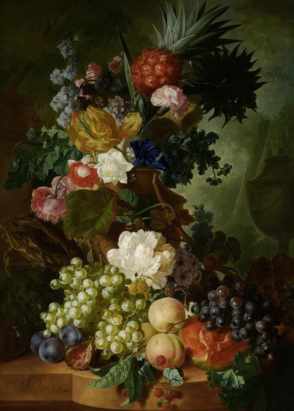 Jan van Os, still life with fruits and flowers