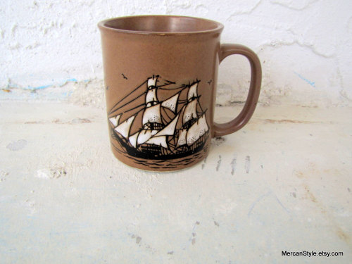 Vintage Sailing Ship Nautical Mug by mercanstyle http://etsy.me/syGYtx