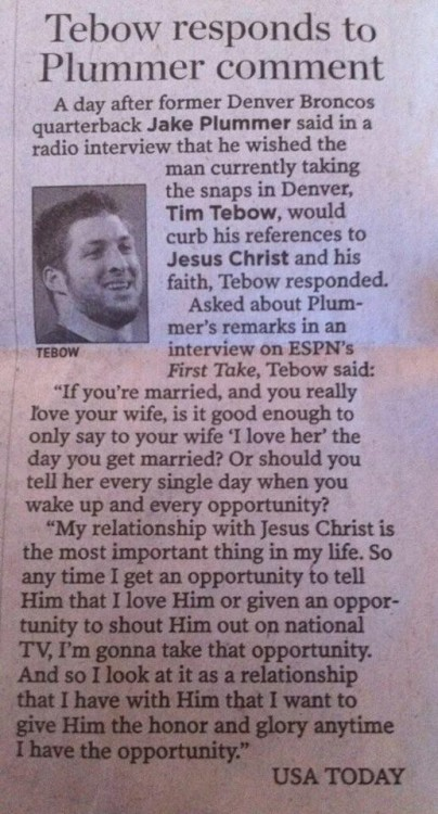 Words, Words, Words Tim Tebow on his faith