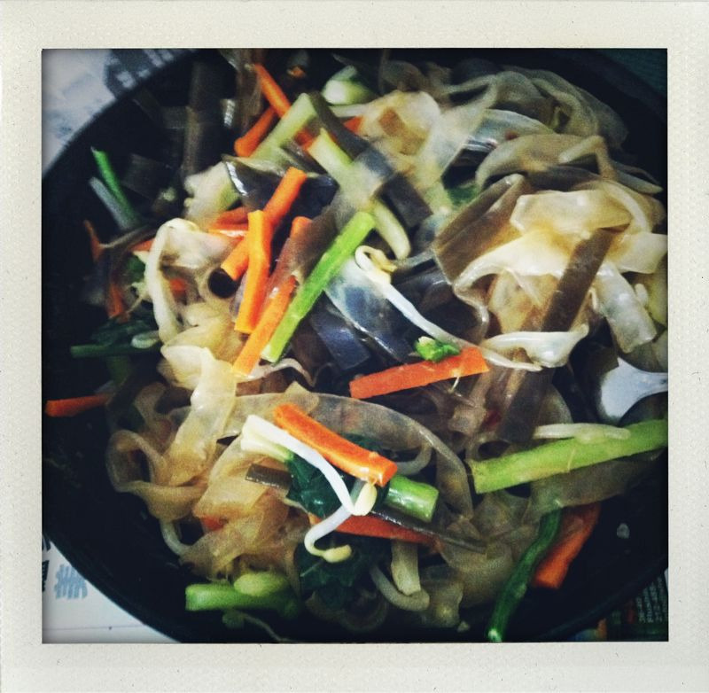 "chinese ""salad"": mung bean noodles with blanched carrots, celery, shiitake, seaweed, been sprouts and choi sum in a ginger mustard sesame oil dressing."