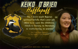 Starfleet-Houses » Keiko O'Brien: Keiko is very family and friendship oriented. The well-being of others holds a special place in her heart, as evidenced a lot in her part on DS9 where she is always supportive of Miles and his associates, and works to establish a school where she can teach the children living aboard the station. She's very steadfast. trusting and strongly loyal, and is able to stay with Miles throughout his career despite difficulties with her botanist career.