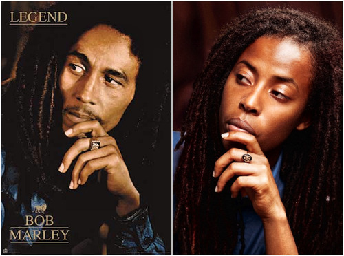 Bob Marley and his first grandchild, Donisha Prendergast.  Dope