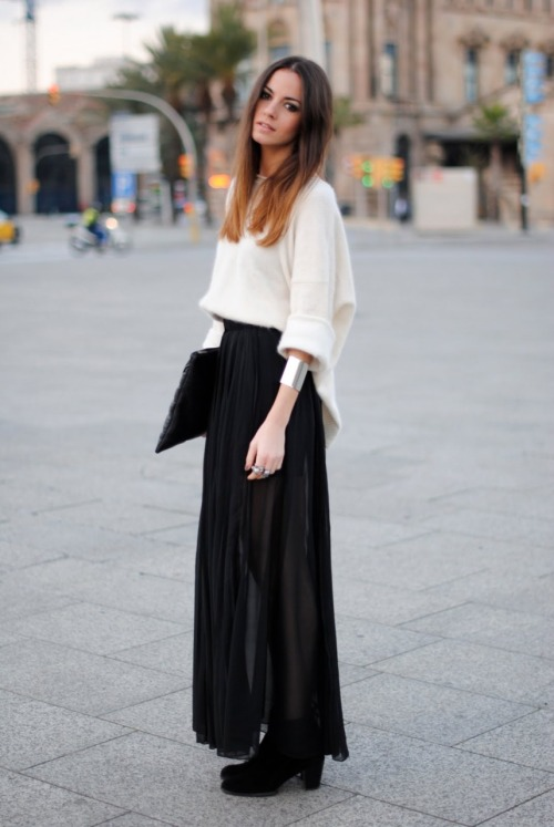 what-do-i-wear:   Skirt: H&M , Booties: Zara, Sweater: H&M , Clutch: Friis & Company, Jewelry: Friis & Company (image: fashionvibe)