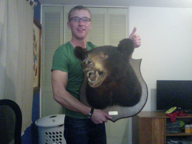 BEAR MAIL!! My brother, Bradley, came across a mounted bear head that someone was getting rid of. He texted me and asked if I wanted it. I love free stuff, so of course I did. It just came in the mail. I just have to figure out what to do with it now, ha. There's a small plaque on it. It's a black bear that was killed by a guy named Tony Lanier back in 1980.
