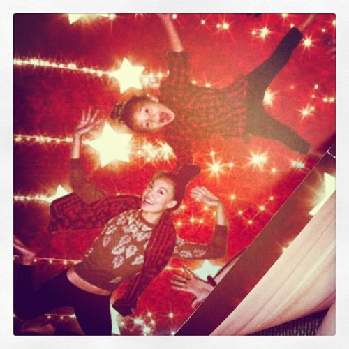 #MerryChristmas from Ira-Rose and I #uglysweaters#silly#jump#christmas#star#christmastree#lights#instagramhi#christmascard  (Taken with instagram)