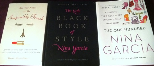 Three books on effortless, feminine-chic style & elegance that I am reading and doing heavy research on. Did I mention I love Fashion?!
