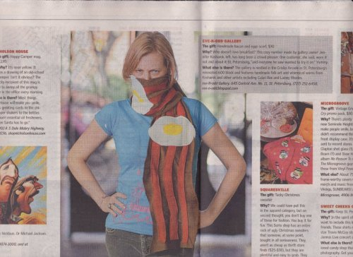 My bacon and eggs scarf was featured in the TBT holiday buying guide!  Sold out this morning and I'm making more this week!  Thanks TBT!