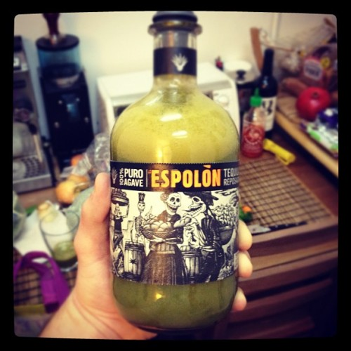 Using an empty Tequila bottle to store my freshly made organic green juice… #healthupgrade #vegan (Taken with instagram)