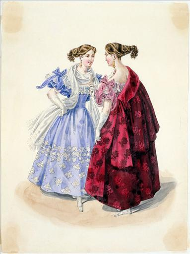 Evening dress, 1832 France, Journal des Dames et des Modes Just posting this for the hairstyle.  I knew hair from the 1830's was strange but wtf.  It's usually going straight up, not out.