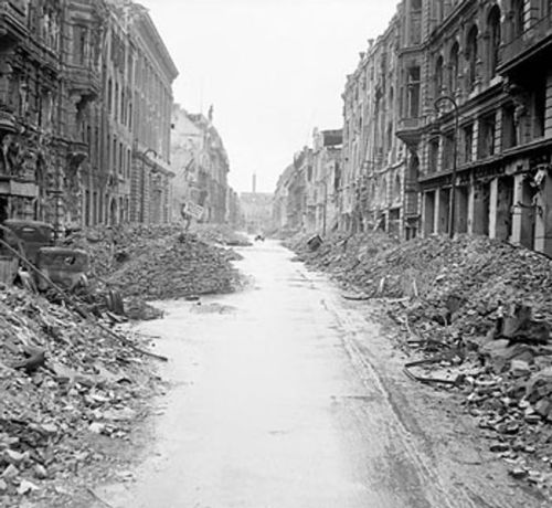 A street in the city center of Berlin, nearly two months after the end of fighting in Europe. Berlin, Germany - July 3, 1945.