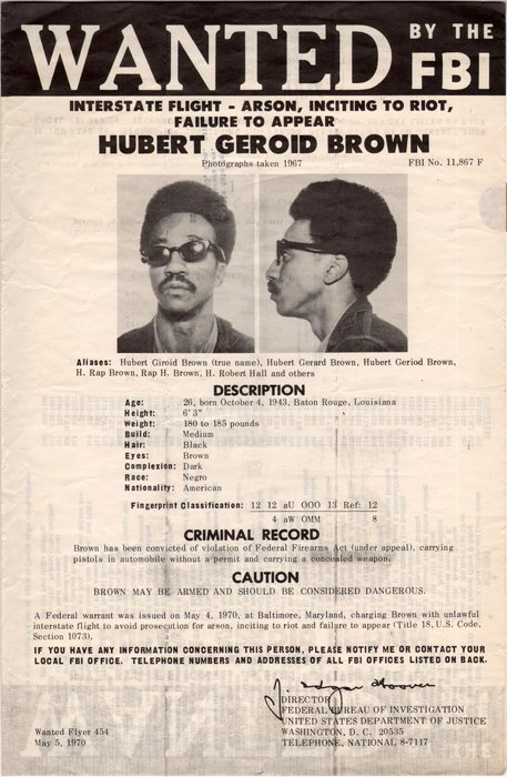 H. Rap Brown, FBI wanted poster, 1970.