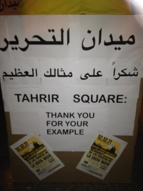 thehoopoe:  Tahrir Square, Thank you for your example. From Oakland.