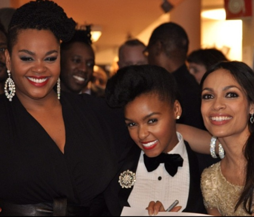 [Description: Photo of Jill Scott, Janelle Monae and Rosario Dawson at an event of some sort.]