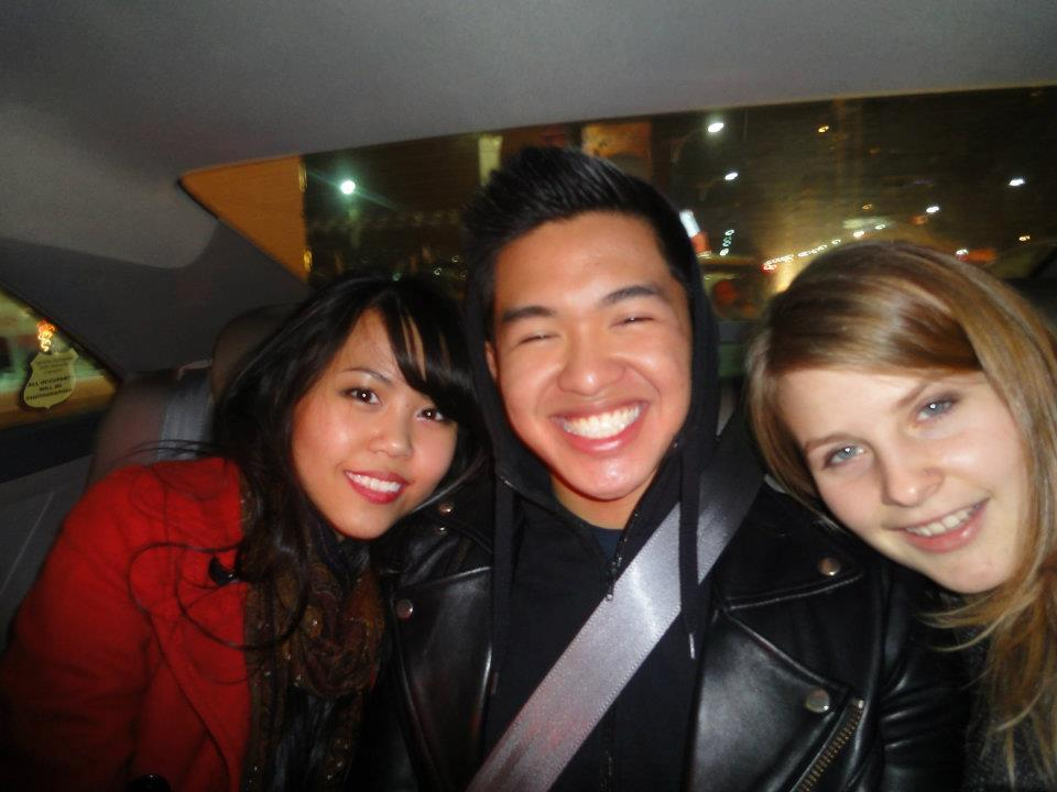 Cruising in a cab downtown at 3 am in the morning - all 3 of us drunk as hell. Hi Ashley!
