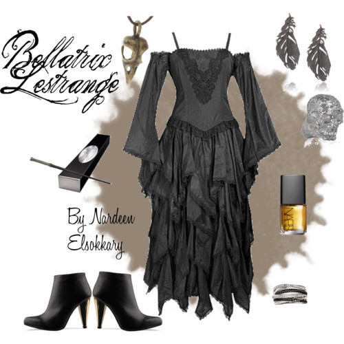 Bellatrix Lestrange by nardeenelsokkary featuring skull jewelry
