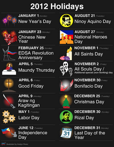 pinoytumblr:  Six long weekends await Pinoys in 2012 (via GMA News)