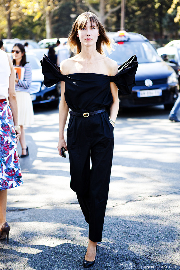 Anya Ziourova, from Russian Tatler, outside Celine, SS 12. DREAMY JUMPSUIT!