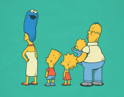 ianbrooks:  Simpsons: Behind the Scene by Ben Chen Try not to look directly at it. Dont make eye contact. Artist: flickr / threadless