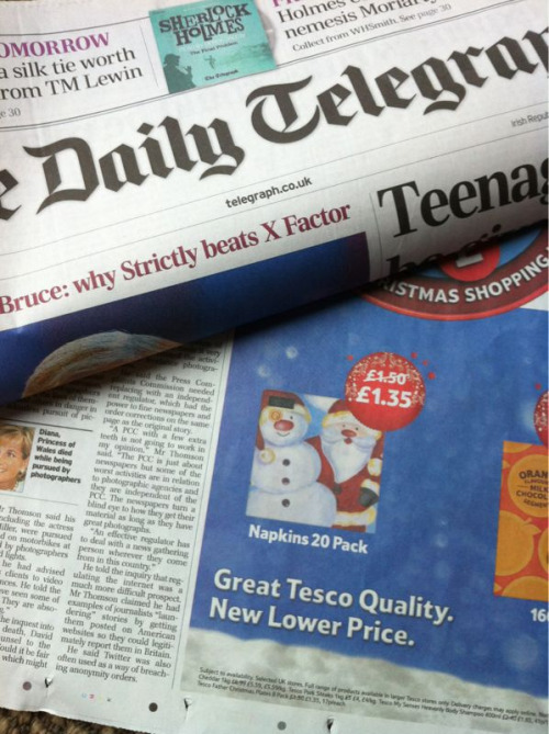 Sunday Telegraph Tesco advert featured our snowman design!