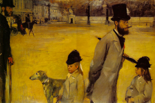 peril:  Place de la Concorde (1875), oil on canvas, Hermitage Museum, St. Petersburg | artwork by Edgar Degas