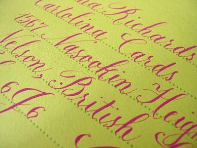 Pink Ink on Yellow Parchment