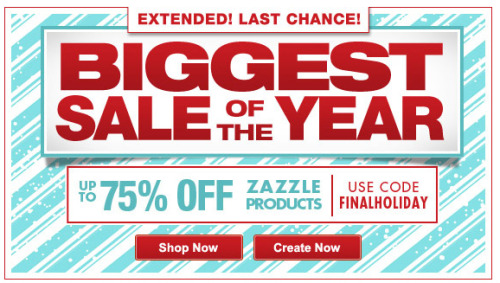 Don't miss this. The biggest sale of the year @zazzle Up to 75% Off stuff Use code: FINALHOLIDAY http://www.zazzle.com/detourdesignables