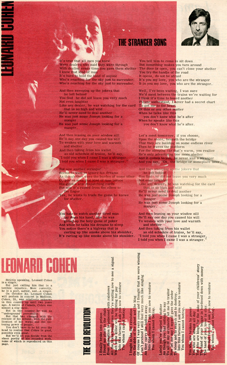 Full page dedicated to Leonard Cohen in Bugle American (1970)