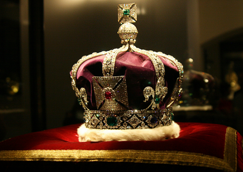 Imperial State Crown: 2868 diamonds, 273 pearls, 17 sapphires, 11 emeralds and 5 rubies. Good enough?