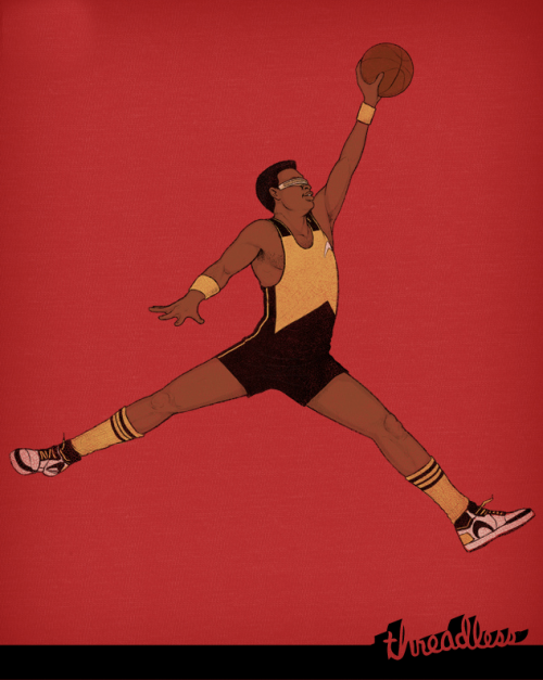 threadless:  Air Geordi by Justin Davis is up for scoring now. Don't forget, your scores tell us which designs to print! From Justin: Geordi enjoys the comfort and snug feel of space-age spandex. Will he find the rim or only more air? We can only speculate. Geordi looks good on red, grays, fatigue/military greens, browns and heather. Heck, anything Geordi wears looks good.